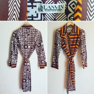 Vintage Ikat Print Lanvin Long sleeve shirt dress